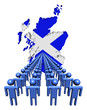 Lines of people with Scotland map flag illustration