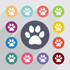 cat footprint circle, flat icons set