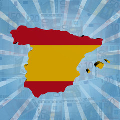 Spain map flag on euros sunburst illustration