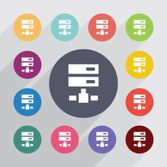 net drive circle, flat icons set
