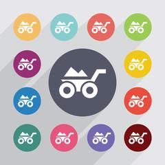 wheelbarrow circle, flat icons set.