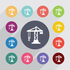 building crane circle, flat icons set