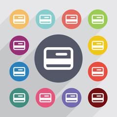 credit card circle, flat icons set