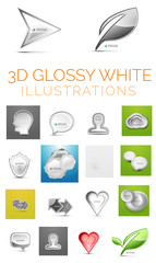 Vector 3d glossy white illustrations