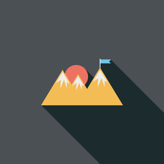 Mountain tourist flat icon with long shadow