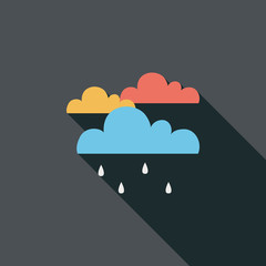 rain flat icon with long shadow
