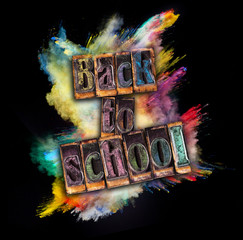 Back to school concept with stamps on black