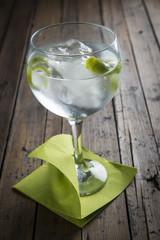 Gin and tonic con mucho hielo y aromatizado con lima