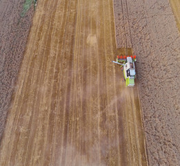 Bird-eye view of harvesting combiner