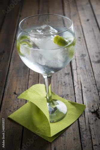 Poster Gin and tonic con mucho hielo y aromatizado con lima