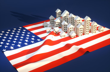 3d render illustration of United States real-estate development