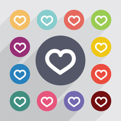 heart, flat icons set