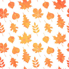 Autumn leaves silhouettes colorful seamless pattern