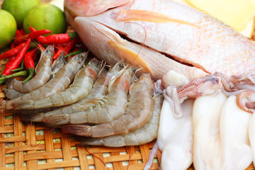 Fresh fish, squid, shrimp, streaky pork, sausages - for cooking.