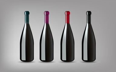 Wine Bottle with On grey Background Isolated. Ready For Your Des