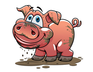 Cute little muddy cartoon pig