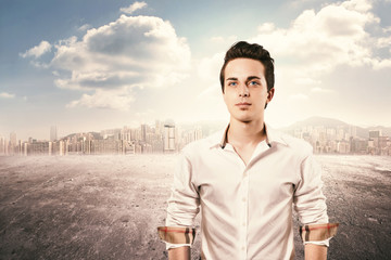 young man portrait in the city background