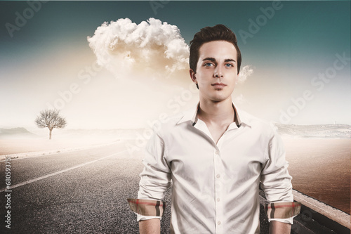 young man portrait on the roand background