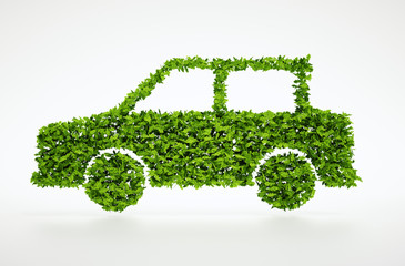Isolated 3d render natural leaf car symbol with white background