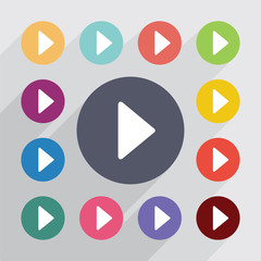 play, flat icons set