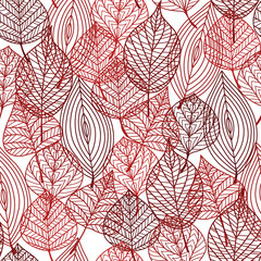 Seamless pattern of red autumnal leaves