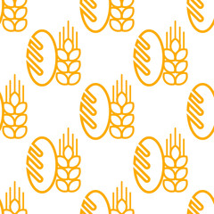 Seamless pattern of bread and bakery symbol