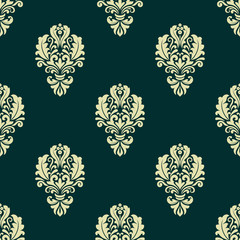 Damask style seamless floral pattern with beige and dark green