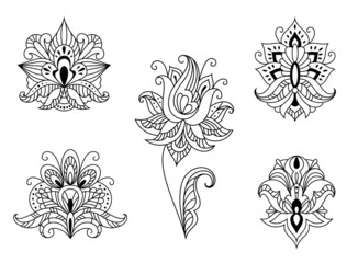Black and white floral motifs of Persian paisleys