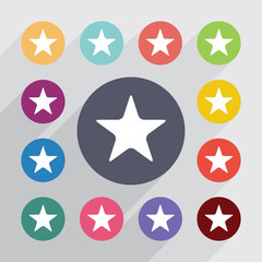 star, flat icons set