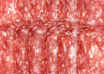 Salami slices closeu