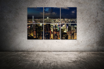 city frame on the scratched wall 2