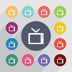 tv, flat icons set