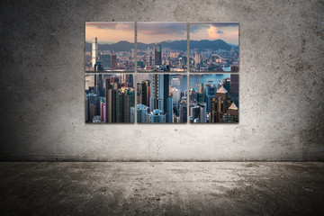city frame on the scratched wall