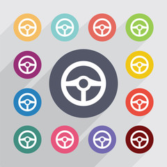 steering wheel, flat icons set