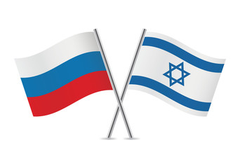 Russian and Israeli flags. Vector illustration.