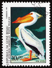 Postage stamp Guinea-Bissau 1985 American White Pelican, Bird