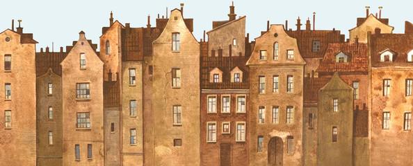 Панорама старой европейской улицы с традиционными фасадами