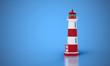 canvas print picture - Leuchtturm vor blauem Hintergrund