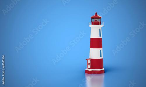 canvas print picture Leuchtturm vor blauem Hintergrund