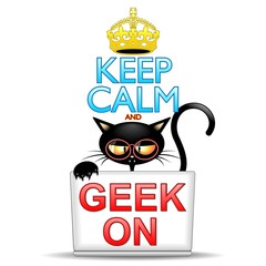 Keep Calm and Geek on Cartoon Cat