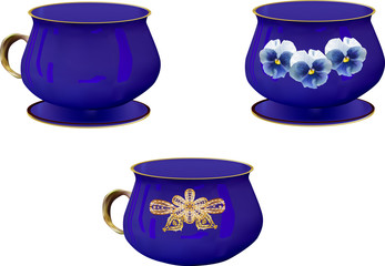 three blue cups collection