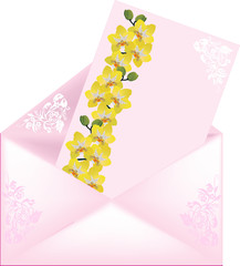 pink envelope with orchid decorated card