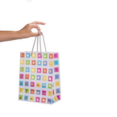 Woman hand holding shopping bag