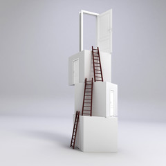 3d boxes with doors and ladders, concept for business success