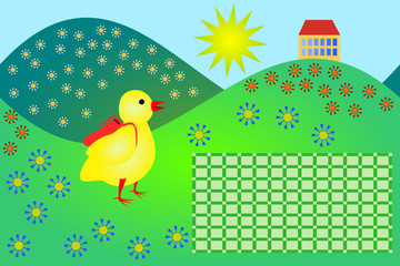 School timetable with little chicken