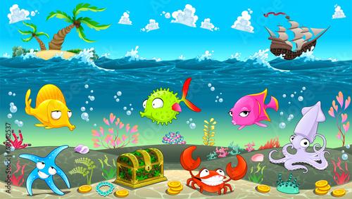 Fototapeta Funny scene under the sea.