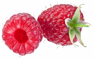 Two raspberries isolated on a white.