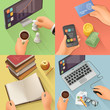 Workplace vector background flat design, set