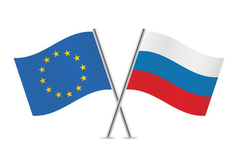 Russian and European Union flags. Vector illustration.