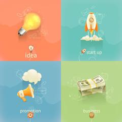 Business concepts, vector set